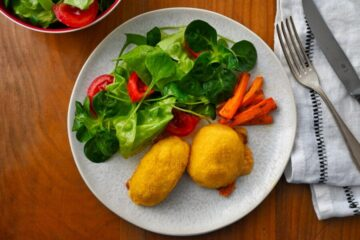 Gebratene Polenta mit Karottenfüllung